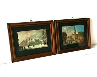 Picture frames with old town image (set)