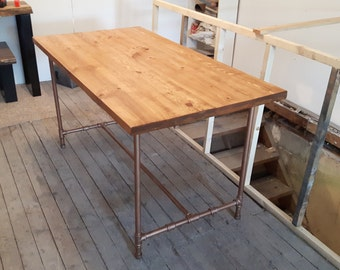 Steel Pipe Dining Table - Kitchen Table - Steel Pipe Base