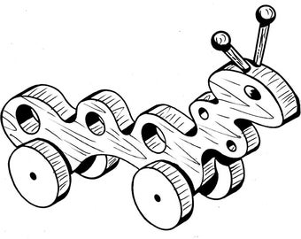 Caterpillar Pull or Play Toy #103 - Woodworking / Craft Pattern. Same Size, Outline Drawings, Just Trace & Create. No Enlarging or Reducing