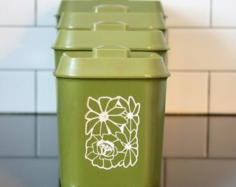 Avocado Green/White Flowers Covered Kitchen Canisters (Set of 4)