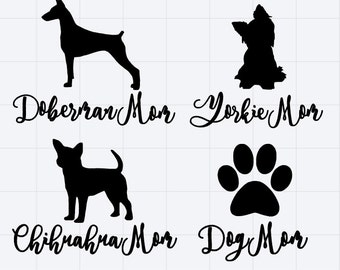 Dog Mom Car Decal Custom Bumper Sticker Personalized With Your Pet Breed & Fave Color - Yorkie - Doberman - Chihuahua - Boxer - Poodle