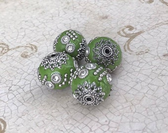 Qty4 Indonesian Beads, Handmade Beads, Green With Silver Metal & Clear Rhinestone Embellishments