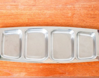 Danish stainless steel serving tray mid-century vintage