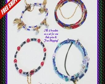 4 Multi strand Bracelets for 1 price & 1 Dollar Shipping!