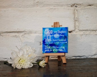 Spiritual Art Gift, Mini Art Mixed Media Painting, Desk Art, Christian Gift, Bible Verse Quotes, Psalm 23, Home Accessories, Gift for Him