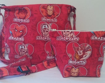 MARVEL HERO HEARTS tote/ hobo bag with matching cosmetic bag