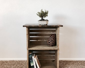 Reclaimed Wood Crate Nightstand/Side table