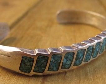 "Vintage Southwest Mosaic Turquoise Cuff Bracelet Sterling Silver Artisan 21.4 Grams 6 1/4"""