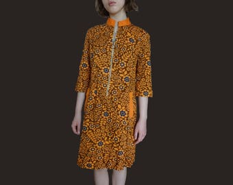 60s floral dress, french cotton dress, orange blue dress, 60s shift dress, 60s Trapeze Dress, 60s mod dress, short sleeve 1960s dress XS S M