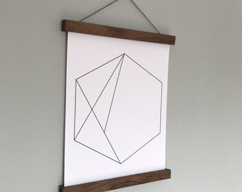 Magnetic Poster Hanger, Wood Poster Hanger, Wall Hanging, Picture Frame, Wood Wall Art, Print Hanger, Poster Frame, Wood Frame, Wood Gift