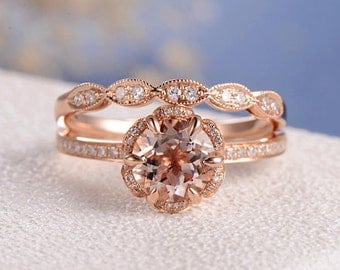 Unique Morganite Bridal Set Rose Gold Engagement Ring Flower gemstone Dainty Art Deco Eternity Wedding Band Pave Antique Diamond Multistone