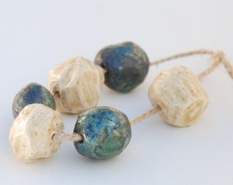 "Set of handmade ceramic glazed beads ""Cosmos and Candies"""