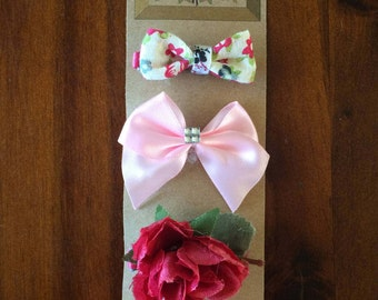 Mixed Bow Hair Clips | Diamonte Bow Hair Clip | Floral Bow Hair Clip | Flower Hair Clip