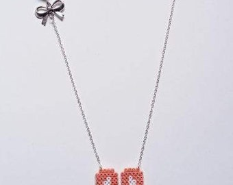 "Necklace ""Collection"" Spring""Bunny / hama beads / pixel"