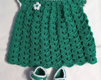 Baby girl set, dress and booties, green and white, handmade
