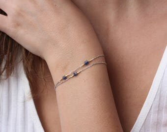 Sapphire Bracelet-Sapphire Beaded Bracelet-Sterling Silver-Delicate Multi Strand 2 Bracelet-Genuine Sapphire-Chain Bracelet-Double Bracelet