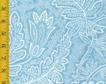 Light Blue and White Quilting Fabric By the Yard - Andalusia: Leafy Damask - Light Sky Blue From Clothworks