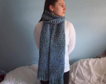 Larissa Blanket Scarf // Hand Knit Scarf // Fringe Scarf // Blanket Scarf // Handmade Scarf // Women's Scarf // Blue Scarf
