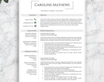 Perfect Teacher Resume Template. Professional Resume Template. Modern Resume  Template For Word And Pages.