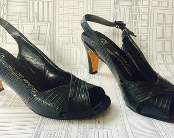Perfect Vintage Condition Delman Snakeskin Shoes Heel Slingbacks