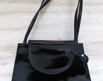 Black Patent Shoulder Bag with Double Straps