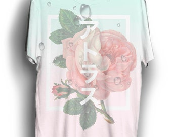 Japanese Rose tee shirt, aesthetic tee, Japanese shirt, Japanese tee, pastel clothing, pastel shirt, aesthetic clothing, korean aesthetic