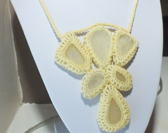 Crochet statement necklace with genuine natural seaglass - pale yellow cotton