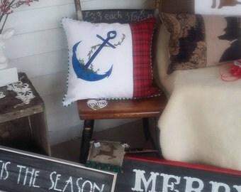 Christmas anchor pillow