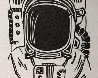 Spaceman Linocut Print / Astronaut Linoleum Print / Spaceman Art