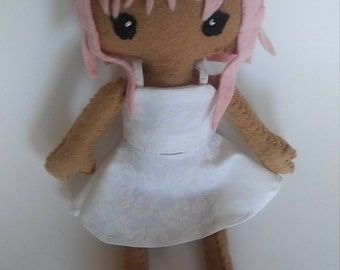 Cute pink haired handmade doll