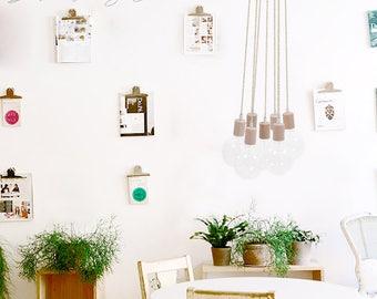 Sale 7 Clustered Pendant Light. Pine Wood Hanging Pendant. Pendant Light Cluster. Nordic Lighting. Ceiling Light Fixture. Edison Lighting