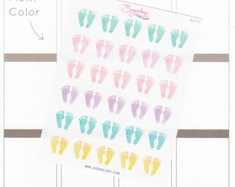 Footprint planner stickers, 30 cute feet stickers, baby steps, feeding, doctor appointments, pedicure, milestones, watercolor, BBY2