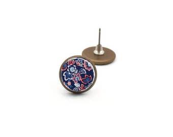 Flower Stud Earrings, Navy Blue Earrings, Flower Earrings, Trendy Earrings, Post Earrings, Gifts for Her, Pretty Earrings, Dangle Earrings