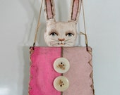 Pocket Bunny White Rabbit with Pink Purse Original Hand Painted Folk Art Doll Sculpture OOAK