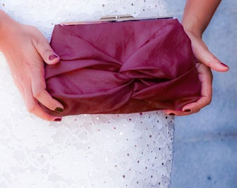 Maroon Knot Bow Wedding Clutch With Metal Clasp- Bridesmaid Gift Bag- 32 Colors Available