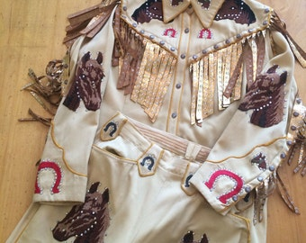 Amazing 1940s Vintage Western Suit Horse Head & Horseshoe Chain Stitching removable Gold Leather Fringe Rhinestones shirt and pants