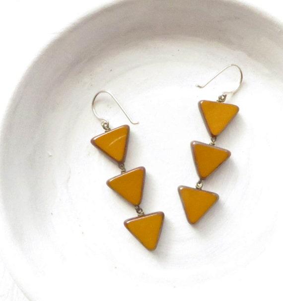 Bridesmaid Earrings > Angle Earrings > Mustard