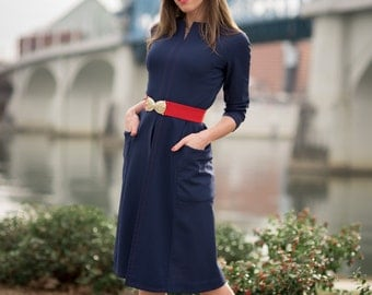 Vintage Navy Blue Red Belted Mod Dress (Size Small)