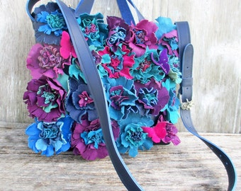 RESERVED for Jamie Jewel Toned Leather Flower Bag by Stacy Leigh