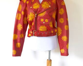 Vintage 80s 90s Hand Painted Siren Red Leather Flower Power Cropped Motorcycle Jacket (size medium, large)