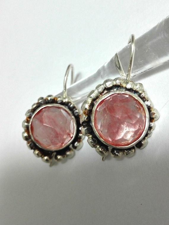 Silver Dangle Cherry Quartz Earrings, Pink Stone Drop Earrings, Round Rosecut Stone, Bridesmaid Gift