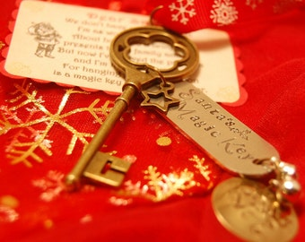 Santa's Magic Key - Hand Stamped Magic Key - Christmas decoration - Personalized gift - Children's Gift - Gift from Santa - Father Christmas