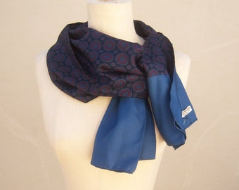 Vintage Italian silk ascot / navy blue black red medallions / men's opera scarf / hand stitched rolled edges / stunning