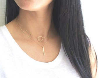 Layered Necklace set of 2, Silver or Gold Necklace, Simple Necklace, Bridesmaid Gift, Dainty Ring & Gold Bar Necklace Layering TheSilverWren
