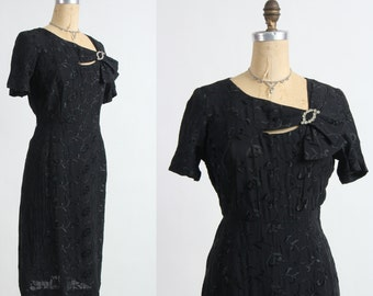 SALE Brocade LBD with Brooch Black Cocktail Dress