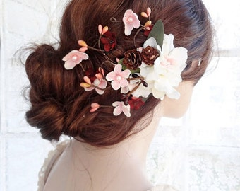 bridal flower hair clip, bridal hair flower, bridal hair accessories, burgundy hair flower, ivory hair clip, pink, rustic floral headpiece