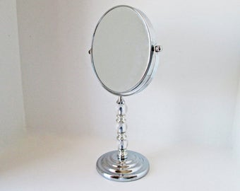 Swivel Vanity Mirror Tilt Silver Metal Makeup Mirror Shaving Mirror standing two sided magnified tall chrome mirror, glass balls heavy based