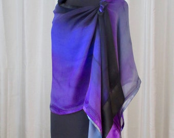 OASIS Hand Painted Silk Ruana, Wedding or Travel Attire for Women, Made in USA