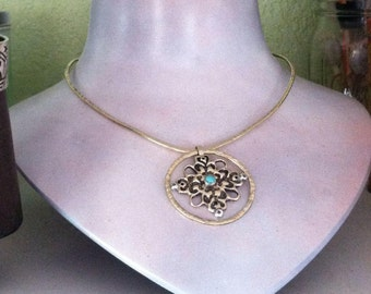 Ornamental Cross necklace - Brass with turquoise on hand Forged brass collar