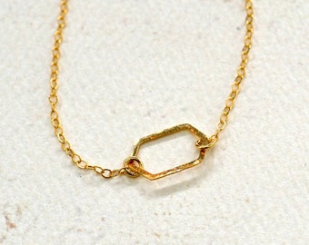 Buoy Necklace - gold crystal silhouette necklace, silver geometric necklace, dainty hexagon necklace N57/N58/N59